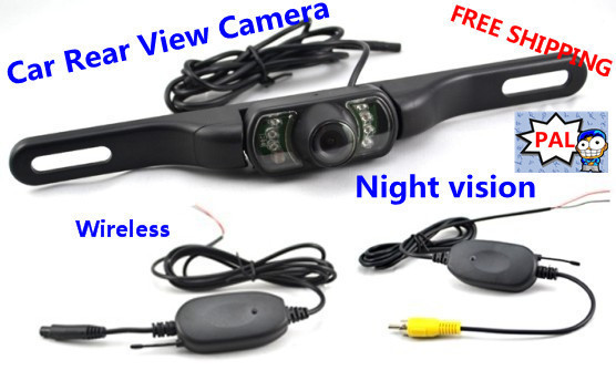 2.4G Wireless LED Car Rear View IR Night Vision Reversing Camera For GPS PAL