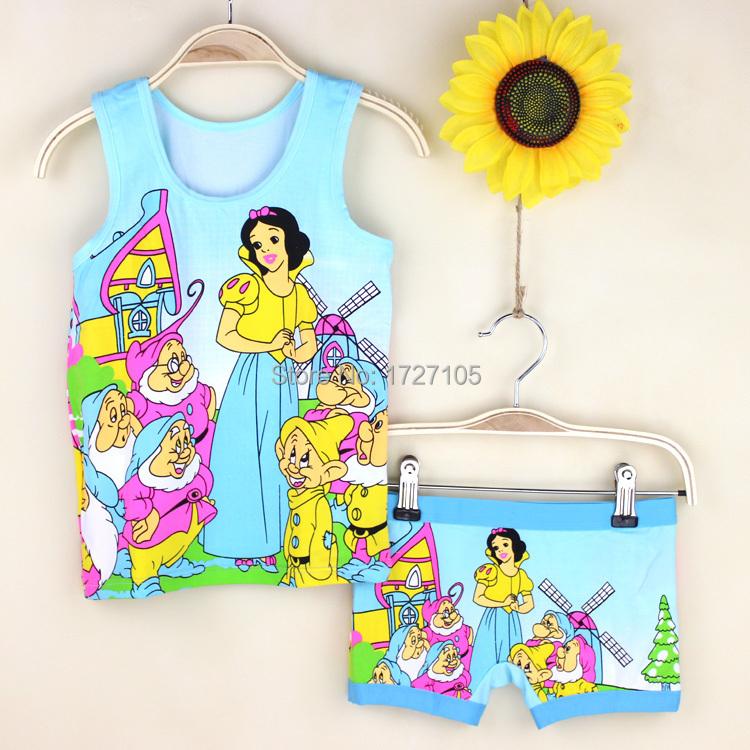[해외]여자 100 %면 잠옷 O-넥 민Retail 여름 속옷 공주 어린이 &a..