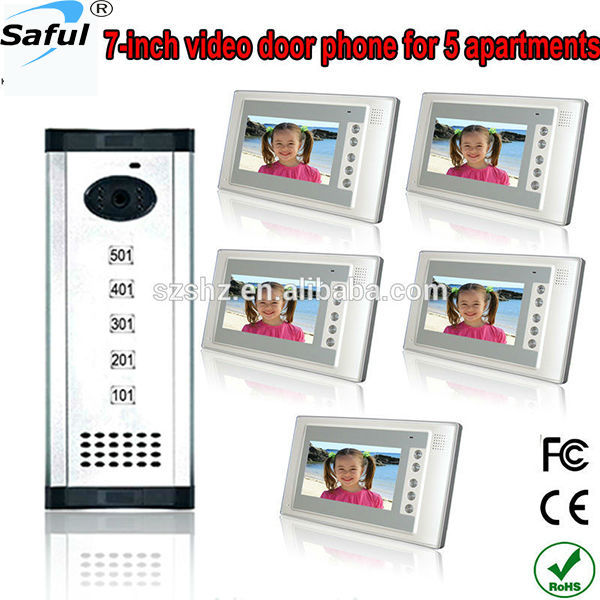Free shipping 7 inch TFT Display wired  video door phone 5 apartments intercom system for villa high definition camera monitor<br><br>Aliexpress
