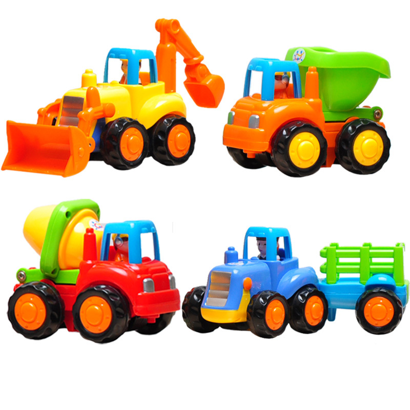 Free shipping wind up child fun toys engineering car inertia car excavation car toy mixer toy truck toy tractor(China (Mainland))
