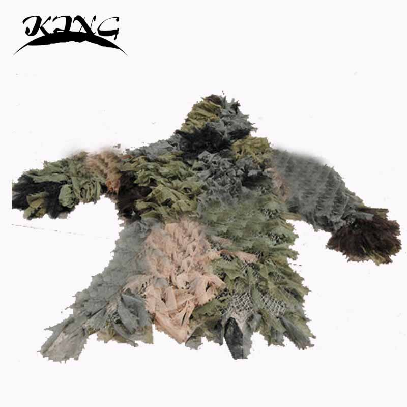 New 3D Leaf jungle CAMO more LEAF NET GHILLIE SUIT JACKET AND TROUSERS for hunting