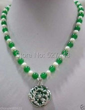 Sl20140632S White 7-8 pearl 8mm green jade silver dragon pendant necklace(China (Mainland))