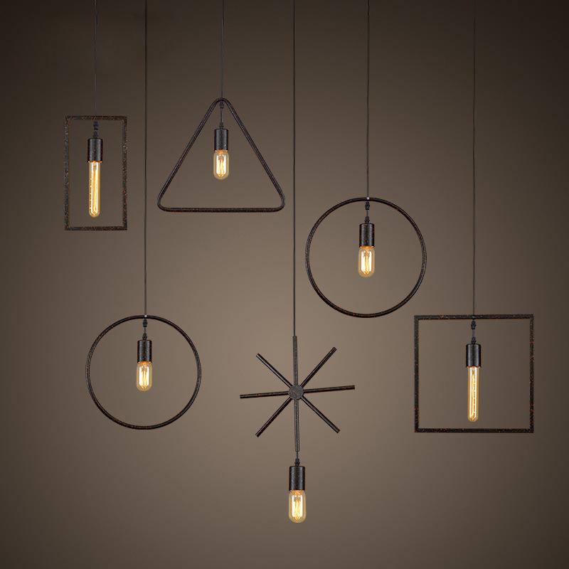 Hot sale American country loft industrial wind Iron pendant lights iron bar restaurant creative simple geometric iron lamp<br><br>Aliexpress