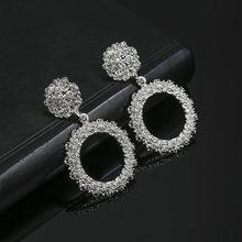 2019 nowy moda spadek kolczyki dla kobiet okrągły koło metali ciężkich oświadczenie kolczyki prezent dla Wedding Party biżuteria(China)