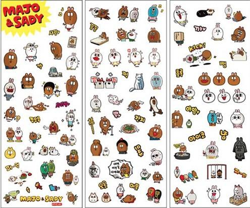 6PCS/ Korea Sweet Rabbit I series multifunctional PVC sticker set/DIY deco stickers/phone sticker/office school supplies(China (Mainland))