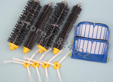 2 Blue AeroVac Filter + 2 set main Brush kit +4 side brush for iRobot Roomba 600 Series 620 630 650 660 accessory Replacment