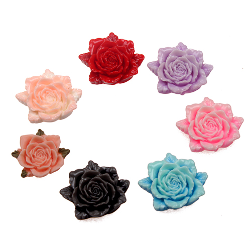 32mm Resin Crafts Resin Flower Flatback Cabochon Scrapbooking Fit Embellishments MixedColor(China (Mainland))