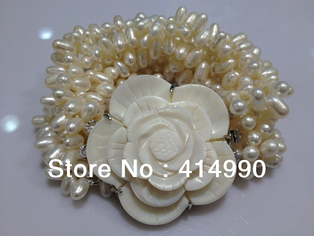 fashion jewelry shell flower pearl bracelet freshwatermultilayer baroque pearls bracelet pearl braclet real pearl bracelet(China (Mainland))