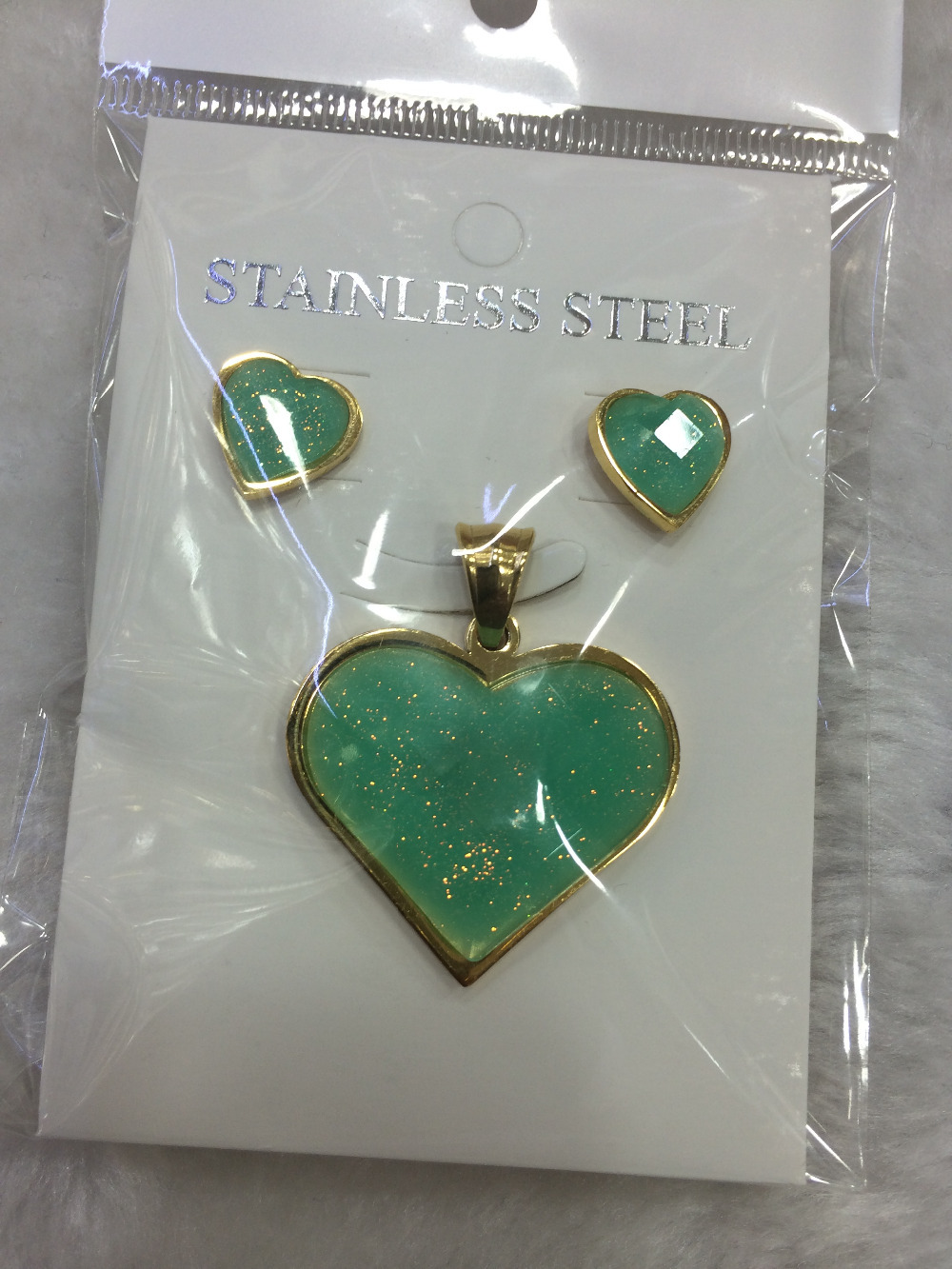 Classic hot selling Jewelry set lovely green heart stainless steel plated clear crystal Necklace pandent earrrings jewelry set(China (Mainland))