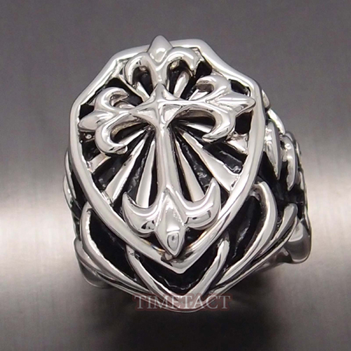 High quality Wholesale Men's Huge Heavy Knight Fleur De Lis Cross Stainless Steel Ring Jewelry Size 10,11,12,13(China (Mainland))