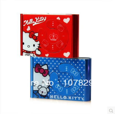 100pcs/lot hello Kitty MP3 Player Support Max 8GB Micro SD / TF Card 5 Colors (only mp3 player) Best Gift For ChIldren(China (Mainland))