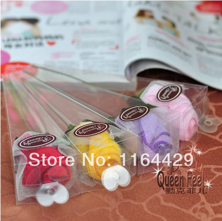 5 pieces /lot (20cm*20cm) Custom LOGO promotional advertising gift towel wedding cake towel PVC Favor Valentine Rose festival(China (Mainland))