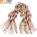 2016 Winter fashion plaid thick lamb wool scarf for women pink tassel tartan checked pashmina shawl