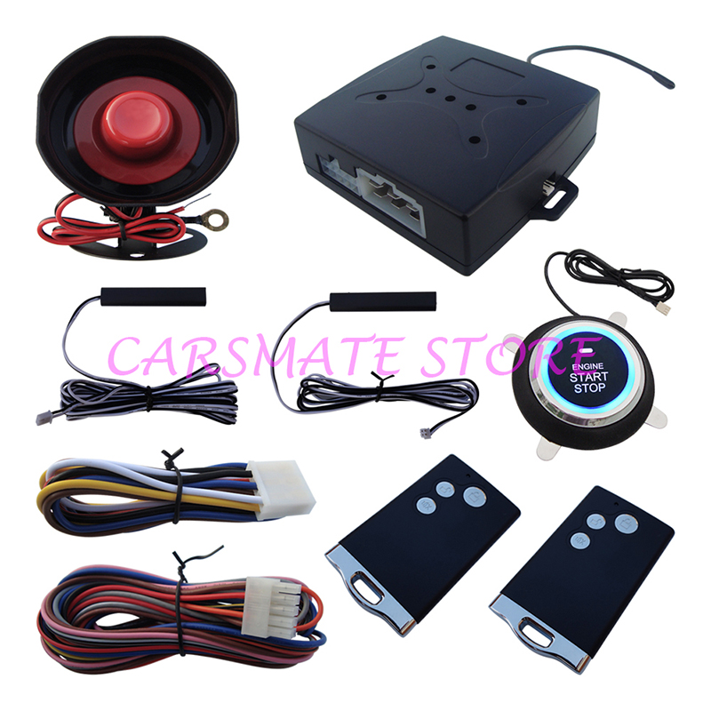 Stock In USA! Smart Car Alarm System Passive Keyless Entry Push Button Start Remote Engine Start, PKE On/Off By Remote Control(China (Mainland))