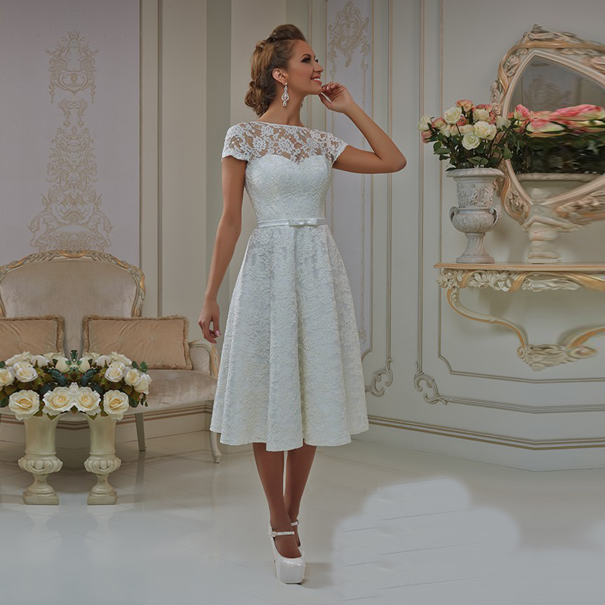 2017 lace wedding dress a line sheer short sleeve ankle for Ankle length wedding dress with sleeves