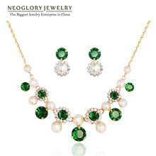Neoglory 14k Gold Plated Simulated Pearl Green Zircon Charm Jewelry Sets Mother's Birthday Gifts 2016 New Hot Fashion CN2 ZPR1(China (Mainland))