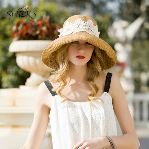 Hot Sales Paper Straw Hat For Summer With Beautiful Ribbon Design Solid Beach Sun Hat Wide Brim SW120014(China (Mainland))