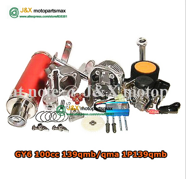 GY6 100cc big bore Power update 30% Big Bore Kit high Performance cdi carb piston rings Exhaust 139QMB Chinese Scooter cylinder(China (Mainland))