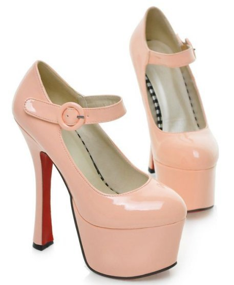 2014 New Arrival Spring Spool Heel Women Pumps Buckle strap Platform Women shoes Glitter Red bottom shoes Hot sale High quality(China (Mainland))