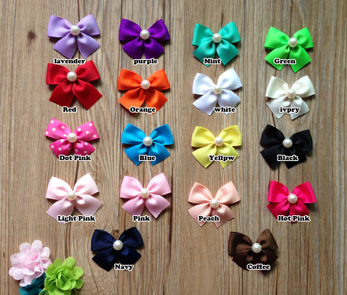 Handmade Pet Grooming Accessories Products Dog Pearl Bow Hair Little Flower Bows Dogs Gift(China (Mainland))