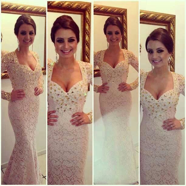 2015 New Fashion Sexy V Neck Long Sleeves Beige Lace Crystal Beaded Mermaid Prom Dresses Evening Gowns Floor Length.(China (Mainland))