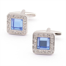 New Fashion Christmas Square with Blue Rhinestone Cufflinks Mens Shirt Cuff Button Gifts for Men Laser Plating Cuff link gemelos