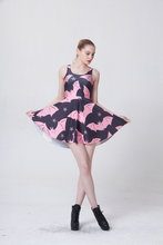 1026 Fashion Women's 3D printing bat star prints elastic summer sexy Girl skater one-piece pleated dress