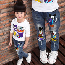 Marque enfants garçons et filles jeans 2015 cartoon caractère imprimé casual denim pantalons printemps et automne nouveaux jeans pour enfants(China (Mainland))