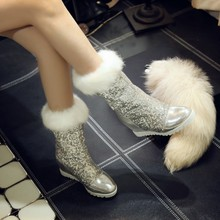 Sequins Snow Boots 2015 New Korean Shiny PU Warm Boots Fashion Fur Height Increasing Women Boots for Winter