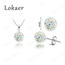 Fashion Crystal Set 10mm CZ Disco Pave Crystal Ball Pendant Necklace+Stud Earrings+Silver Chains Mix Options Free Shipping(China (Mainland))
