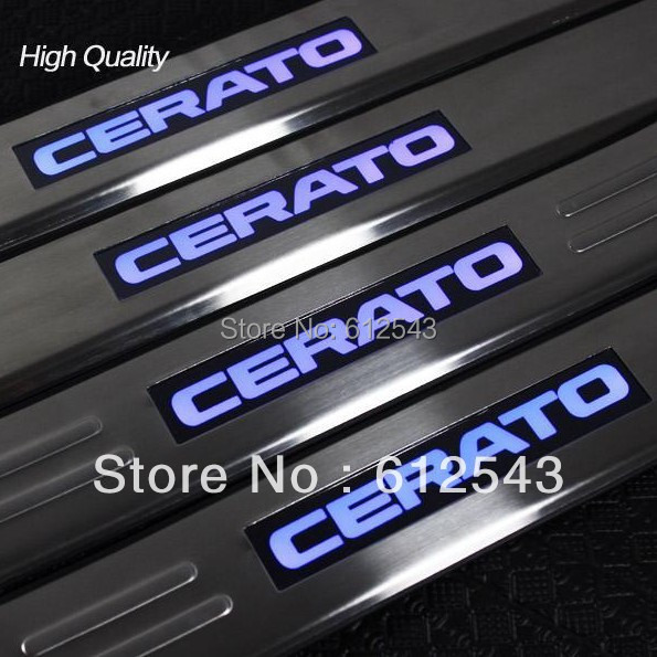 !For KIA Cerato 2010 2011 2012 2013 car styling LED light Door Sill Scuff Plate protector step cover guards - Enjoy life-Sundy store