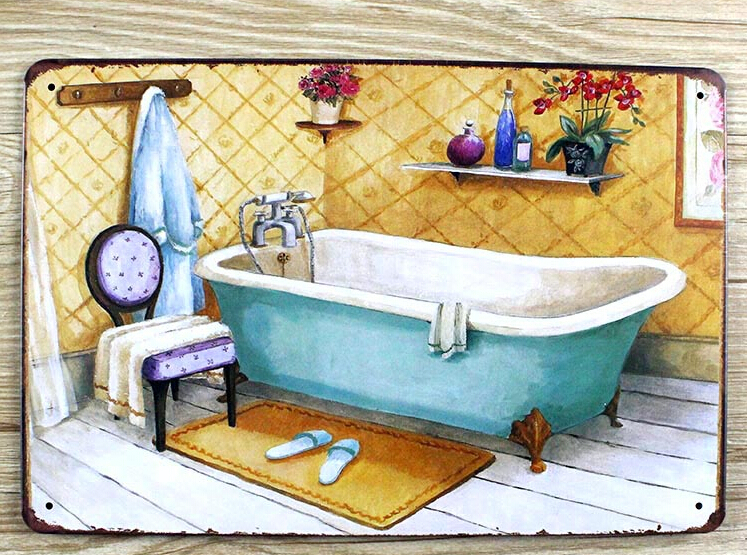 Vintage 20x30cm bathroom wall decor poster bathtub plaque - Vasche da bagno retro ...