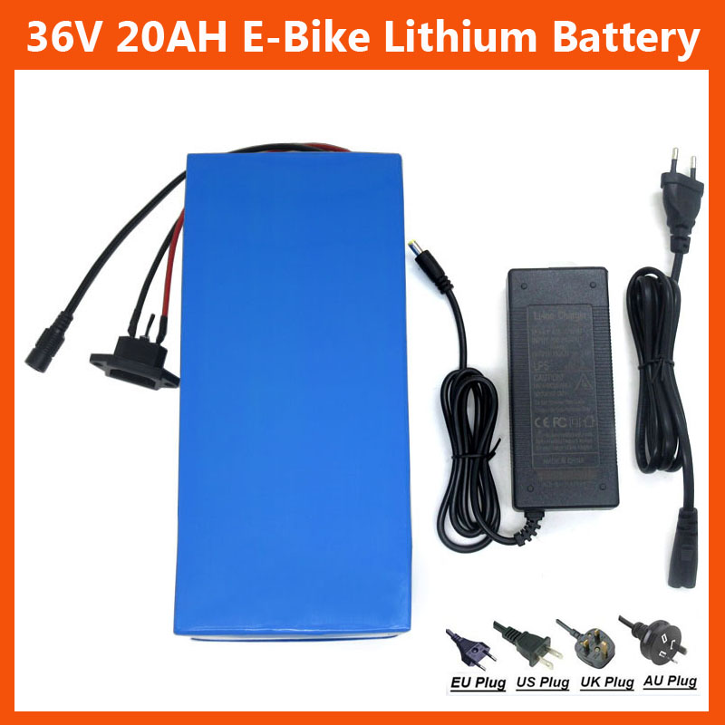 36V Lithium battery 1000W 36V 20AH Electric Bike battery 36V Bicycle Battery with PVC case 30A BMS 42V 2A charger(China (Mainland))