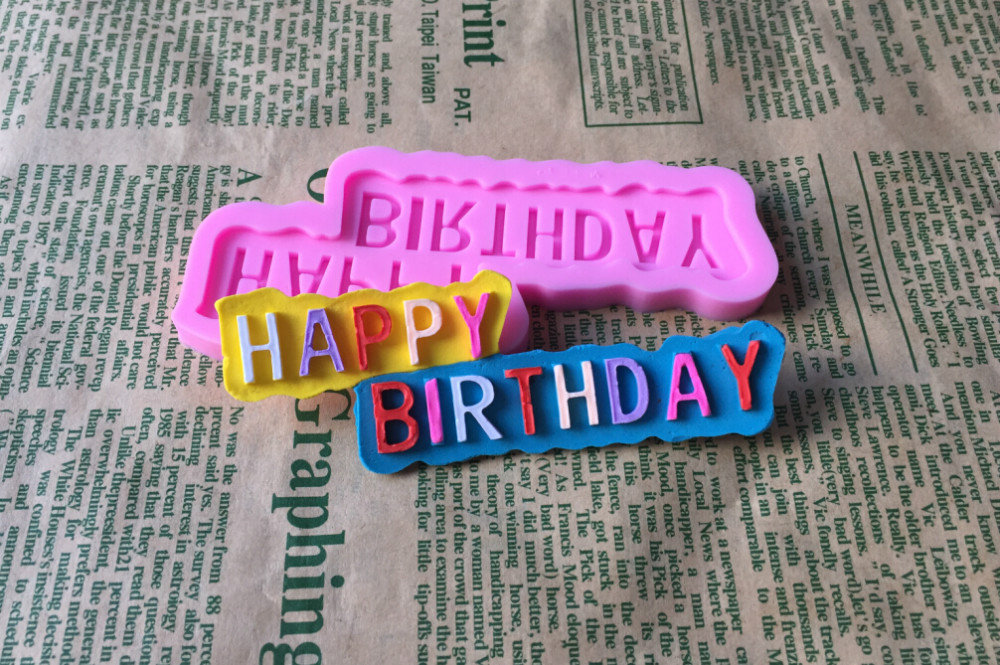 1PCS HAPPY BIRTHDAY Shape Lace Mold Cake Mold Cake Decorating Tools Mold Silicone Mold Fondant Silicone Cake Tools D128(China (Mainland))