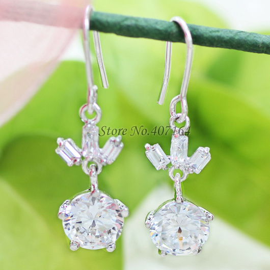 Hot classic round 18K gold earrings 2015 wedding ethnic clear cubic zirconia women - SunFlower Trade Co.,Ltd store