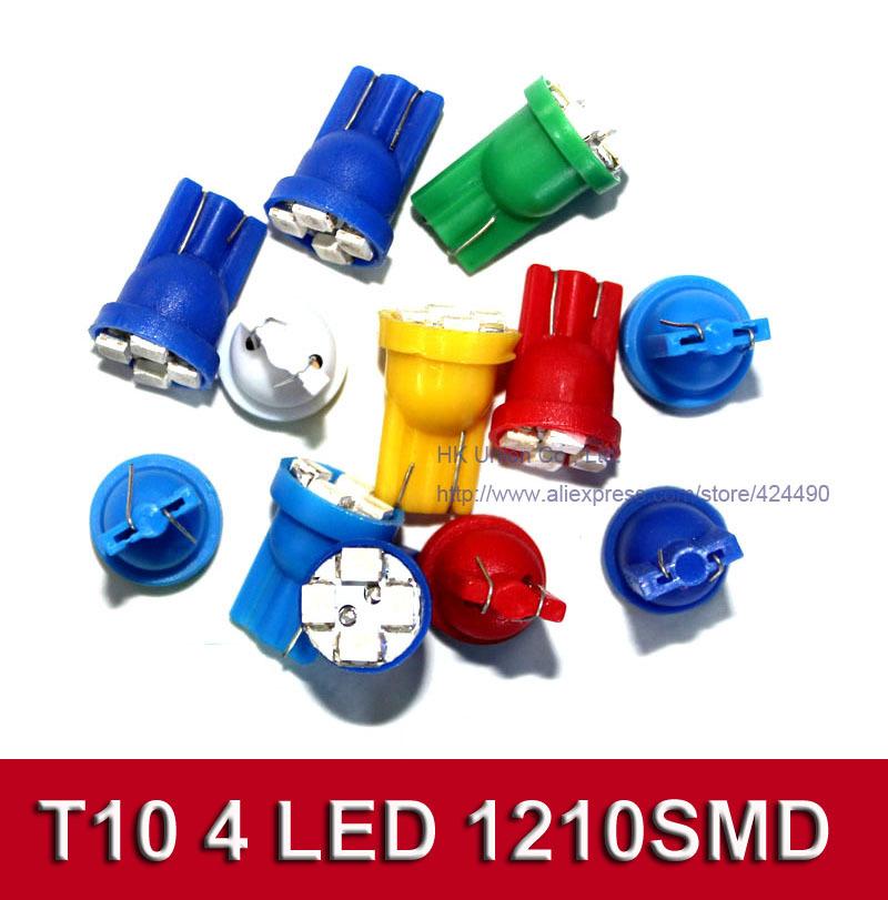 200pcs car led auto led w5w 194 4SMD T10 4LED 4 LED smd 3528 1210 Wedge lamp Bulbs Car Side Indicator Light(China (Mainland))