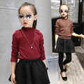 New Arrival 2016 Autumn Girls Shirt Children Bow-knot Sleeve Cuff Kids Drape Blouse Toddler Baby  Comfortable Shirt,2-10Y