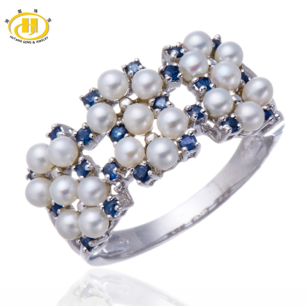 Hutang white freshwater pearl and blue sapphire solid for What is fine jewelry