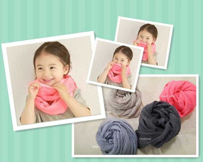 2015 New Spring Solid Color Plain Girl Boy Baby Infinity Scarf for Kids Viscose Cotton Loop Sarves Cirle Ring 5pcs/lot(China (Mainland))