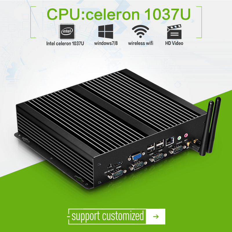Ultra-small thin client mini pc 1037U celeron dual-core 1.8ghz without fan mini itx pc X26-1037G 8g ram 16g ssd windows7 server(China (Mainland))