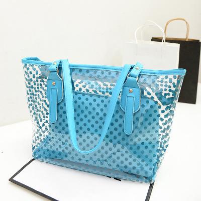 2015 New Fashion Summer Plastic Women's One Shoulder Candy transparent Beach Handbag Beach Bag nueva moda transparente(China (Mainland))