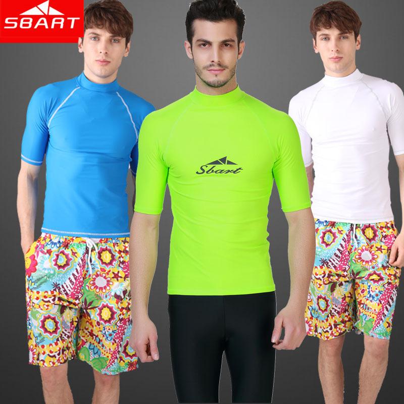 SBART Rash Guard Men short Sleeve Rashguard Swim Shirt 2015 Surf Lycra Rash Guard Swimwear For Men Diving Wetsuit Top(China (Mainland))
