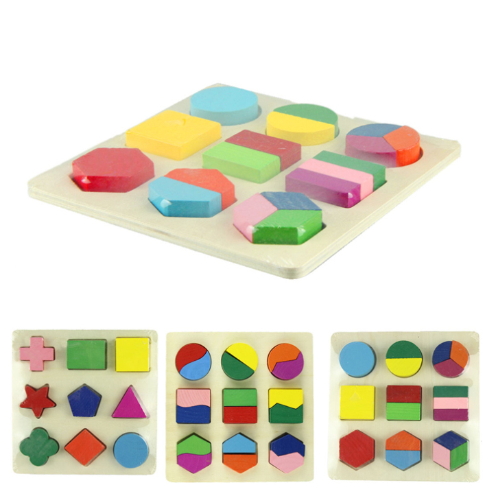 Modern 2015 Geometric Puzzle Wooden Shapes kids toys Jigsaw Puzzle,Free shipping Jun12(China (Mainland))