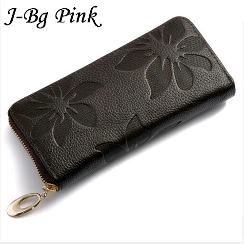 Women Wallets Fashion Flower Print Genuine Leather Wallets Women Clutch Wallets Lady Vintage Clutch Bag Coin Purse Women(China (Mainland))