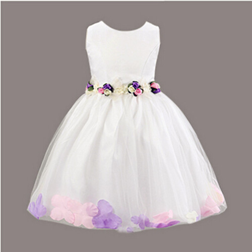 Free Shipping Summer Style Children Cute Sleeveless Ball Gown Dress With Sashes Decoration Silk and Velour Material Girl Dress(China (Mainland))