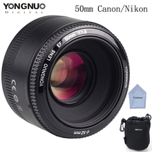 Buy YONGNUO 50mm YN50mm Lens f/1.8 AF/MF Large Aperture Auto Focus Canon Nikon DSLR Camera for $69.00 in AliExpress store