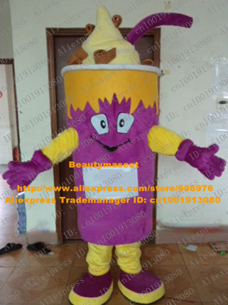 Cool Purple Ice Cream Mascot Costume Mascotte Gelato Butter With Yellow Cream Smiling Face Party Suit Adult No.4385 Free Ship(China (Mainland))
