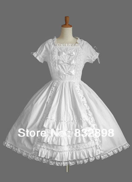 Pure White Lace Bow Cotton Lolita Dress with Short Sleeves(China (Mainland))