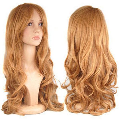 New Blonde Ladies Long Wavy Curly Fancy Dress Hair Full Wigs queen brazilian made Kanekalon cosplay hair wigs(China (Mainland))