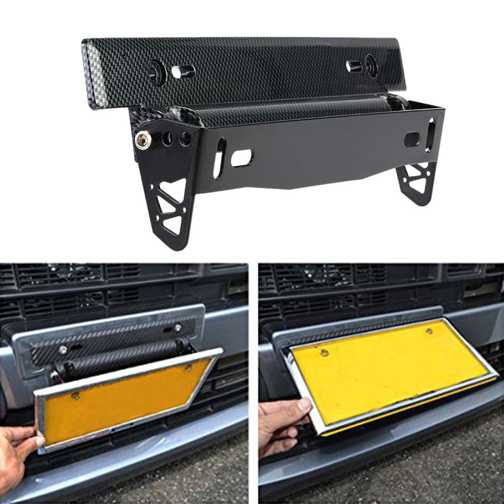 Car-Styling Universal Car License Plate Frame Holder Carbon Fiber Racing Number Plate Holder Adjustable Mount Bracket Accessory(China (Mainland))
